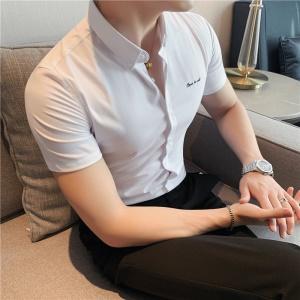 Chemise courte, rayures foncées, manches courtes & manches longues