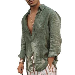 Chemise homme à manches longues en coton et lin doux