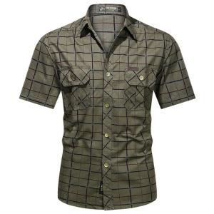 Chemise à carreaux à manches courtes pour hommes