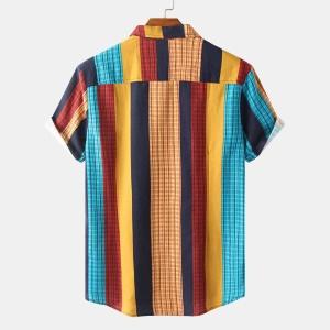 Chemisette homme à bandes multicolores